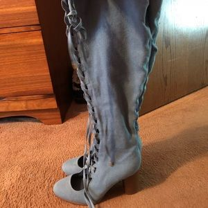 Shoes - Knee- High Denim Tie Up Boots